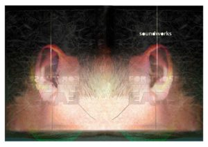 Soundworks book cover. Graphic design and ear by Kieran O'Connor Design